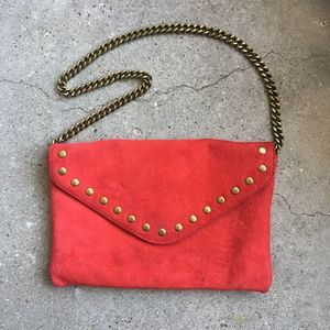 J. Crew Red Suede Envelope Bag w/ Chain Strap